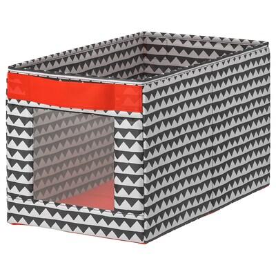 ANGELÄGEN Box, black/white, 25x44x25 cm