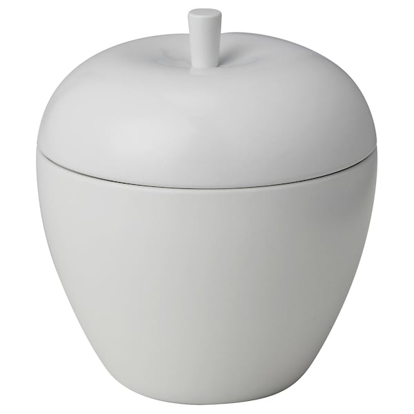 ANSPRÅKSLÖS Scented candle in metal tin, apple/Apple and pear white, 9 cm