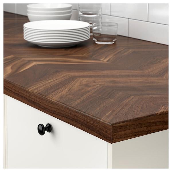 BARKABODA custom made worktop walnut/veneer 3 mm 100 cm 10 cm 400 cm 63.6 cm 125 cm 3.8 cm