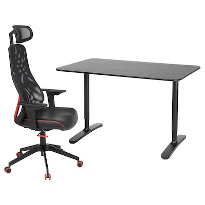 BEKANT / MATCHSPEL Desk and chair, black