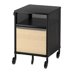 BEKANT storage unit on castors, mesh black