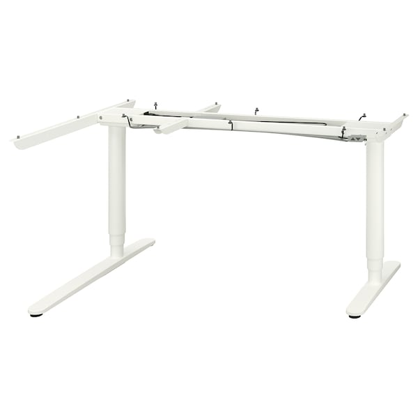 BEKANT Underframe sit/stand crnr table, el, white, 160x110 cm