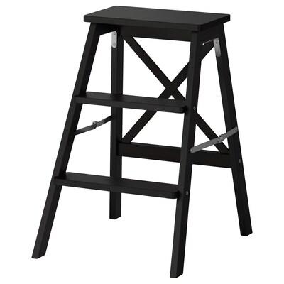 BEKVÄM Stepladder, 3 steps, black, 63 cm