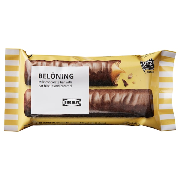 BELÖNING Milk chocolate bar, oat and caramel UTZ certified, 40 g