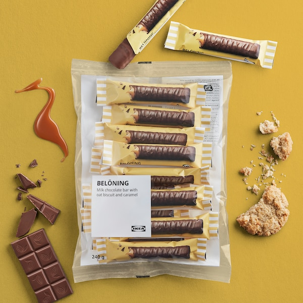 BELÖNING Milk chocolate bar, oat and caramel UTZ certified, 240 g
