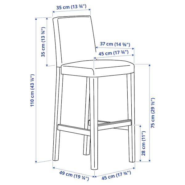 BERGMUND Bar stool with backrest, black/Glose black, 75 cm