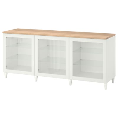 BESTÅ Storage combination with doors, white/Ostvik/Kabbarp white clear glass, 180x42x76 cm
