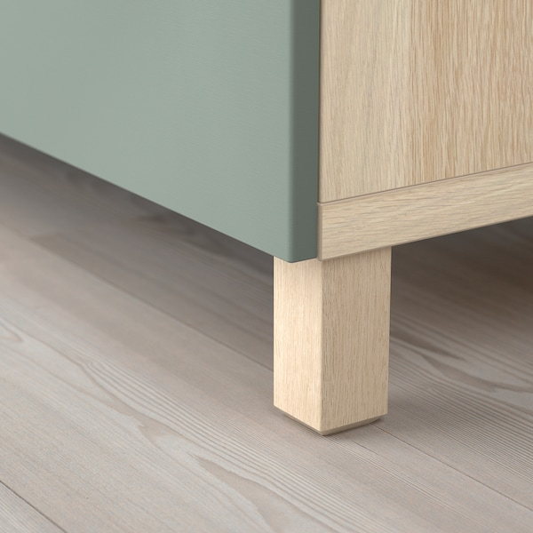 BESTÅ Storage combination with doors, white stained oak effect/Notviken/Stubbarp grey-green, 120x42x74 cm