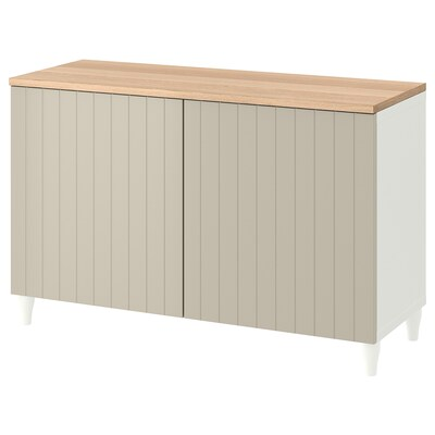 BESTÅ Storage combination with doors, white/Sutterviken/Kabbarp grey-beige, 120x42x76 cm