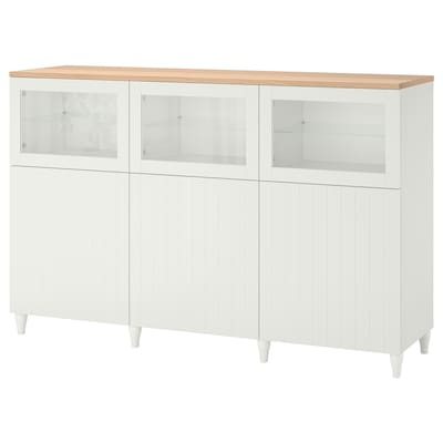 BESTÅ Storage combination with doors, white/Sutterviken/Kabbarp white clear glass, 180x42x114 cm