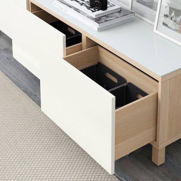 BESTÅ Storage combination with drawers, white stained oak effect/Selsviken high-gloss/white, 180x40x48 cm