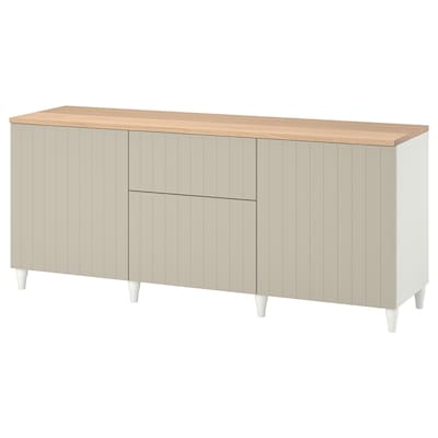 BESTÅ Storage combination with drawers, white/Sutterviken/Kabbarp grey-beige, 180x42x76 cm
