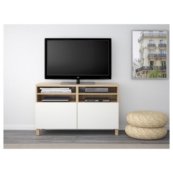 BESTÅ TV bench with doors, white stained oak effect/Lappviken/Stubbarp white, 120x42x74 cm