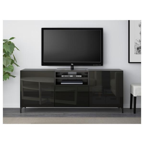 BESTÅ TV bench with drawers, black-brown/Selsviken high-gloss/black smoked glass, 180x40x74 cm