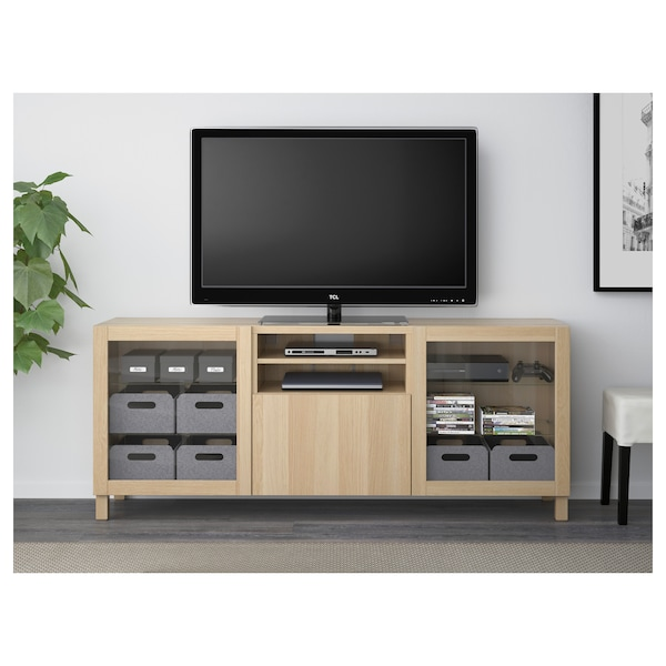 BESTÅ TV bench with drawers, Lappviken/Sindvik white stained oak eff clear glass, 180x40x74 cm