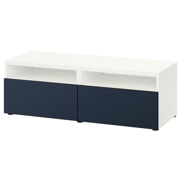 BESTÅ TV bench with drawers, white/Notviken blue, 120x42x39 cm