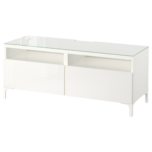 BESTÅ TV bench with drawers, white/Selsviken high-gloss/white, 120x40x48 cm
