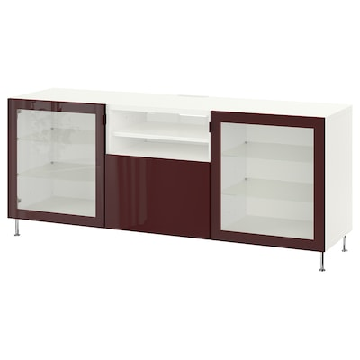 BESTÅ TV bench with drawers, white Selsviken/Stallarp/high-gloss dark red-brown, 180x42x74 cm