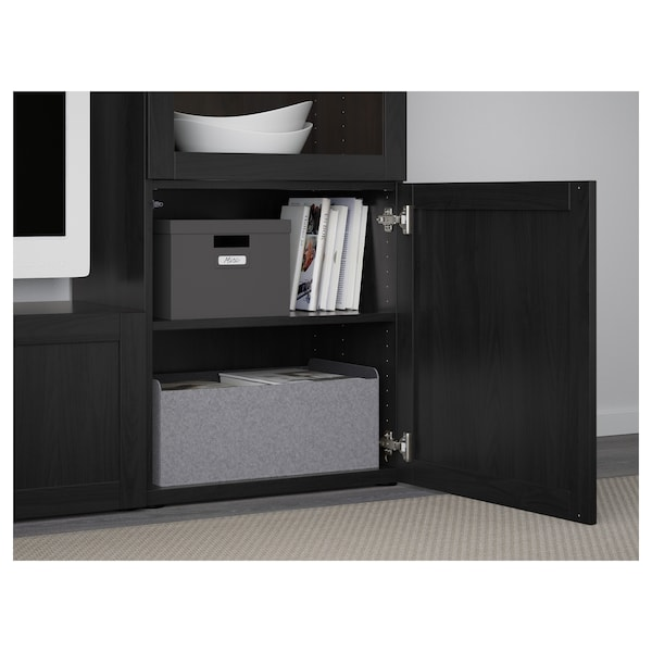 BESTÅ TV storage combination/glass doors, black-brown/Hanviken black-brown clear glass, 240x42x129 cm