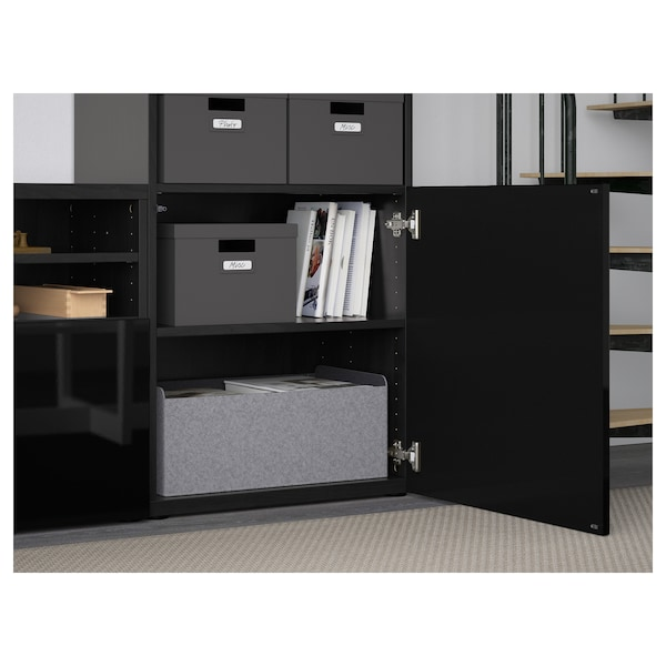 BESTÅ TV storage combination/glass doors, black-brown/Selsviken high-gloss/black smoked glass, 300x42x231 cm