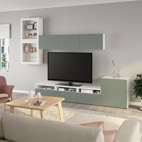 BESTÅ TV storage combination/glass doors, white/Notviken grey-green clear glass, 300x42x211 cm