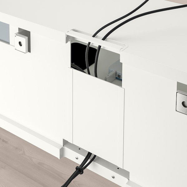 BESTÅ TV storage combination/glass doors, white/Selsviken high-gloss/beige clear glass, 300x42x211 cm