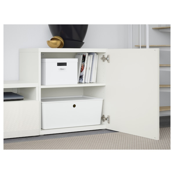 BESTÅ TV storage combination/glass doors, white/Selsviken high-gloss/white clear glass, 300x42x211 cm