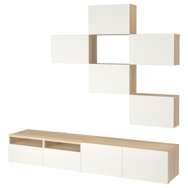Tv Storage Combination Bestå White Stained Oak Effect Lappviken White