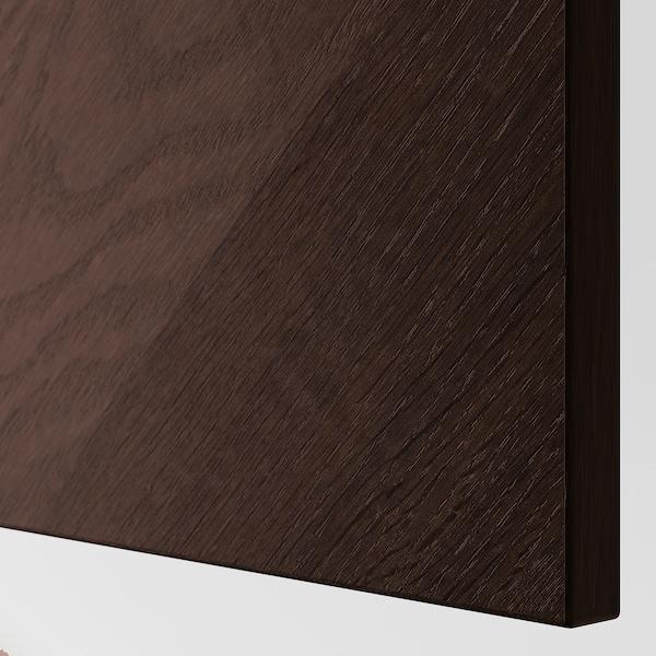 BESTÅ Wall cabinet with 2 doors, black-brown Hedeviken/dark brown stained oak veneer, 60x22x128 cm