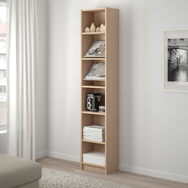 BILLY / BOTTNA Bookcase with display shelf, white stained oak veneer/beige, 40x28x202 cm