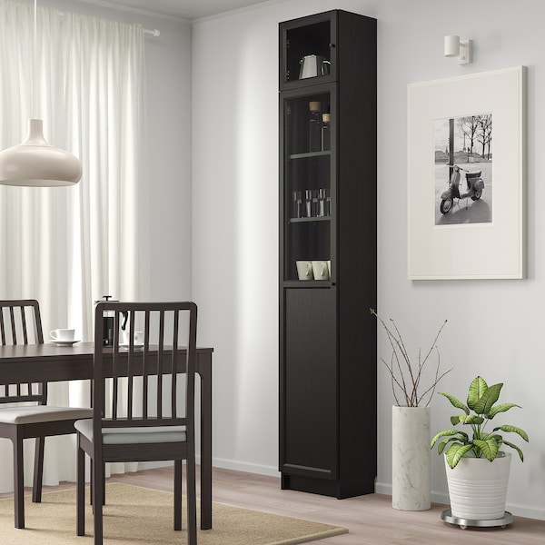 BILLY / OXBERG Bookcase w hght ext ut/pnl/glss drs, black-brown/glass, 40x30x237 cm