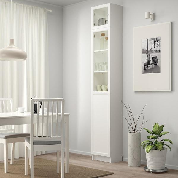BILLY / OXBERG Bookcase w hght ext ut/pnl/glss drs, white/glass, 40x30x237 cm