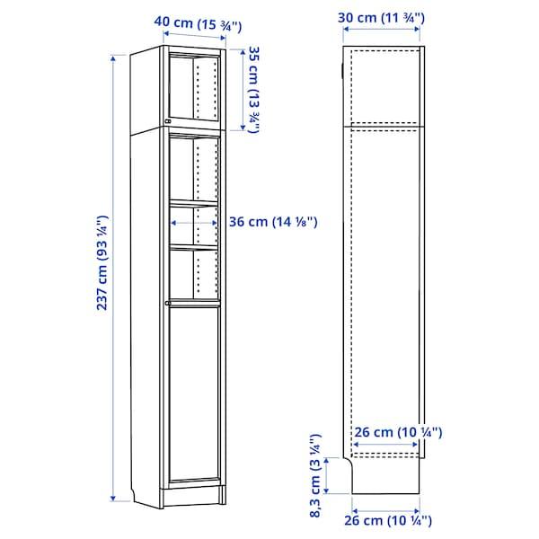 BILLY / OXBERG Bookcase w hght ext ut/pnl/glss drs, white stained oak veneer/glass, 40x30x237 cm