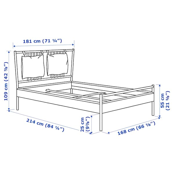 BJÖRKSNÄS Bed frame, birch/Lönset, 160x200 cm