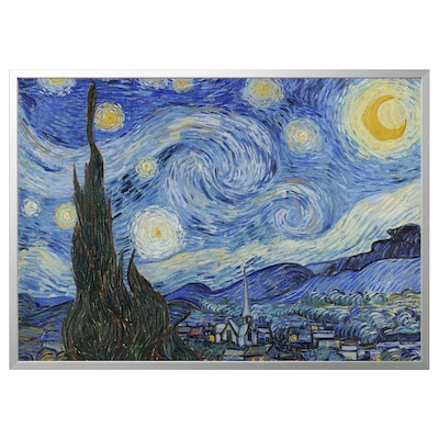 BJÖRKSTA Picture with frame, Starry Night/aluminium-colour, 118x78 cm