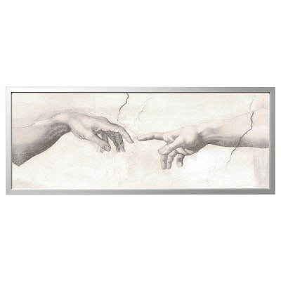 BJÖRKSTA Picture with frame, Touch/aluminium-colour, 140x56 cm