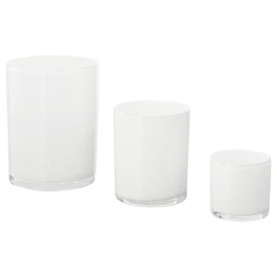 BLÄNDANDE Candle holder, set of 3, white