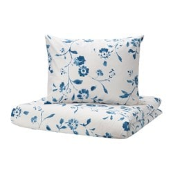 BLÅGRAN quilt cover and pillowcase, white, blue