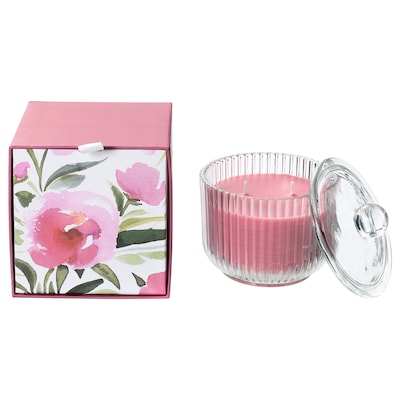 BLOMDOFT scented candle in glass, 2 wicks Peony/pink 11 cm 11 cm 30 hr