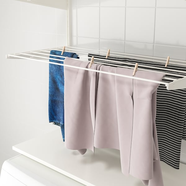 BOAXEL Laundry combination, white/metal, 82x40x201 cm