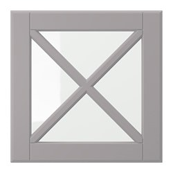 BODBYN glass door with crossbar, grey