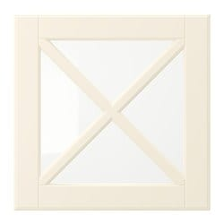 BODBYN glass door with crossbar, off-white