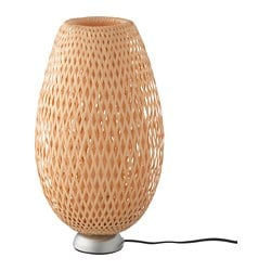 BÖJA table lamp, nickel-plated, bamboo