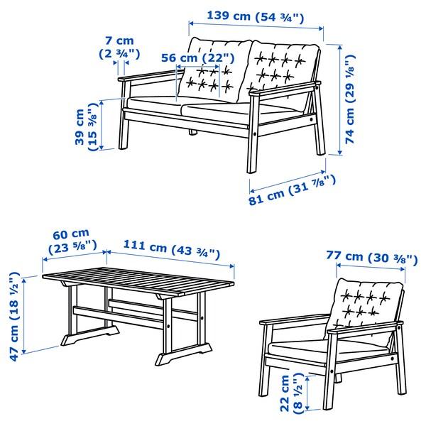 BONDHOLMEN 4-seat conversation set, outdoor, grey stained/Kuddarna beige
