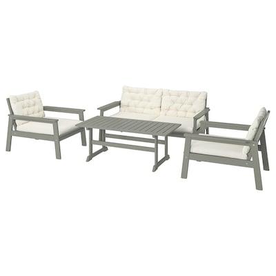 BONDHOLMEN 4-seat conversation set, outdoor grey stained/Kuddarna beige