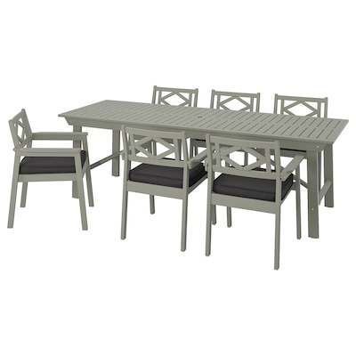 BONDHOLMEN Table+6 chairs w armrests, outdoor, grey stained/Järpön/Duvholmen anthracite