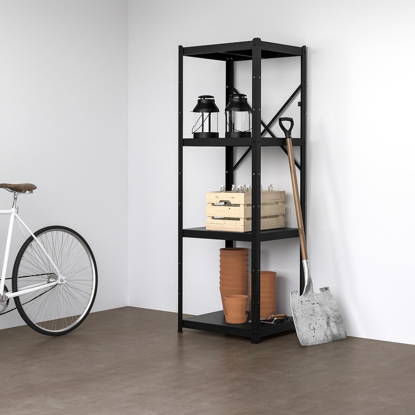 BROR Shelving unit, black, 65x55x190 cm