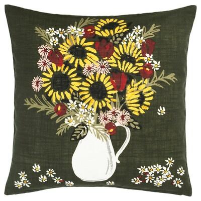 DEKORERA Cushion cover, dark green flowers and leaves, 50x50 cm