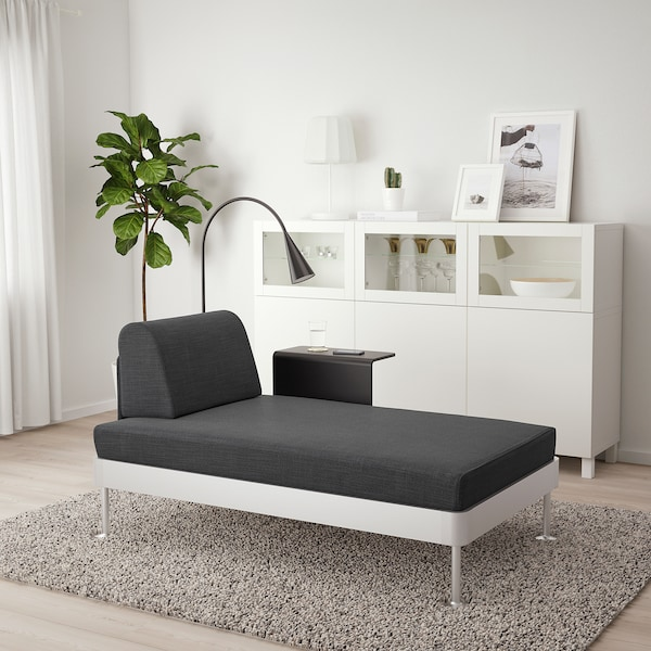 DELAKTIG Chaise longue w side table and lamp, Hillared anthracite