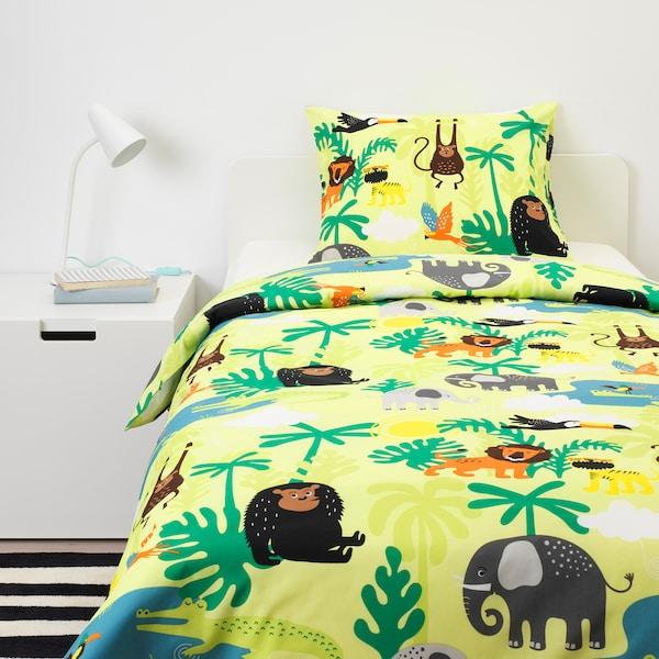 DJUNGELSKOG Quilt cover and pillowcase, animal/green, 150x200/50x60 cm